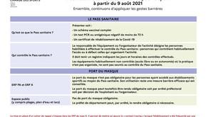 Le Pass Sanitaire dans le sport à compter du 9 août 2021