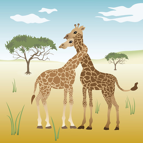 Lovely Giraffes Illustration Poster