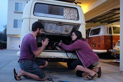 Bessie the 1970 VW bus on a maintenance day
