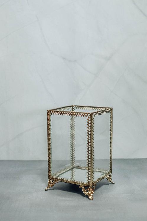 Gold Trim Glass Holder