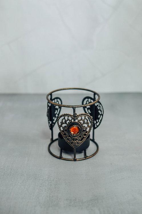 Vintage Heart Gem Tea Candle