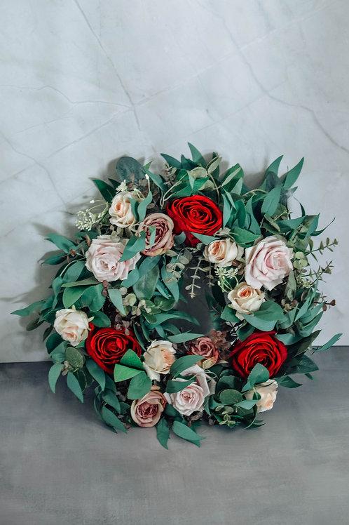Blush Red Flower Wreath