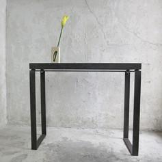 brand x fabrication / mild steel, bamboo, glass