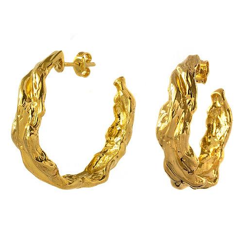 Серьги конго желтое золото, серьги круги серебро с позолотой, серьги кольца большие золото, серьги  крупные серебро Толстая