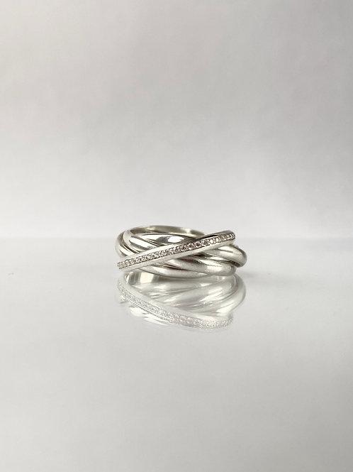 Кольцо из 5 колец серебро 925, кольцо из нескольких колец, семья кольцо много колец в одном, переплетенное кольцо неделька
