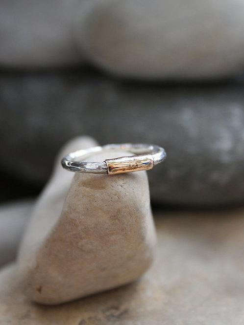 Серебряное кольцо с золотым пояском