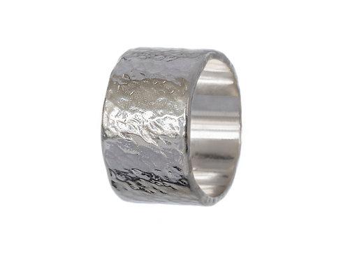 Широкое кольцо серебро, большое плоское кольцо без вставок, простое кольцо серебро битое ручная работа, Екатерина Толстая
