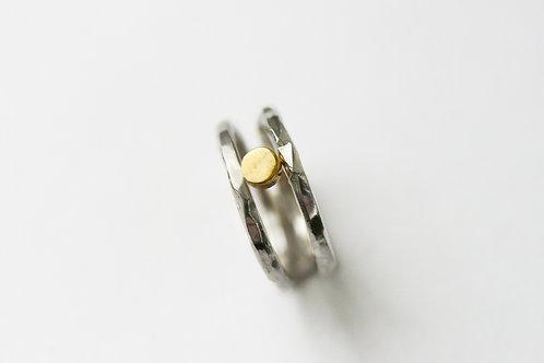 сет из колец, серебро и латунь, мятое кольцо, кольца на фалангу, набор колец серебро, Екатерина Толстая, ювелир СПб