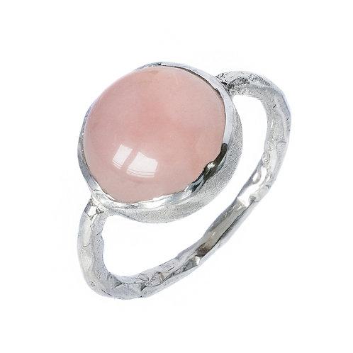 кольцо с розовым кварцем, натуральный камень кабошон, серебряное кольцо с  розовым камнем купить, Толстая, битое серебро