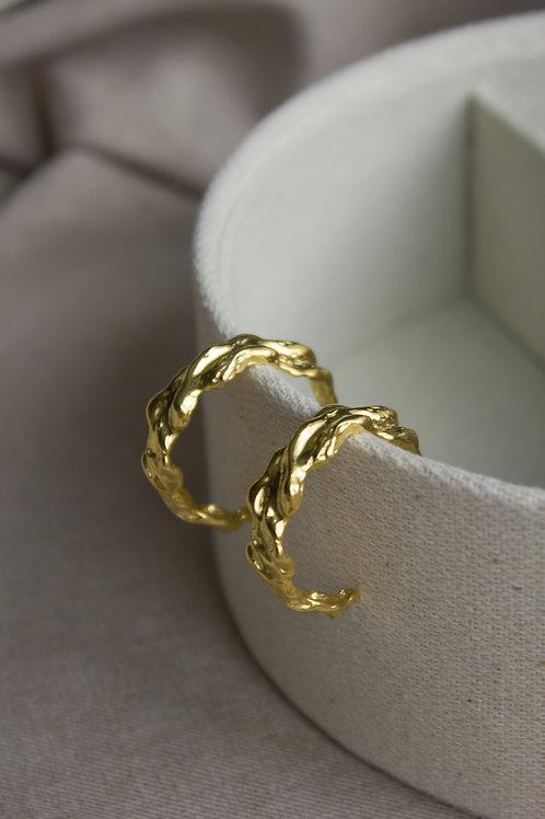 Серьги кольца, серебро 925 пробы, серьги гвоздики с позолотой, ювелир дизайнер Екатерина Толстая, ручная работа СПб купить