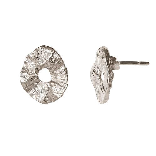 Маленькие серьги гвоздики серебро, круглые мятые серьги пусеты, серебро с текстурой серьги купить, Толстая Екатерина ювелир