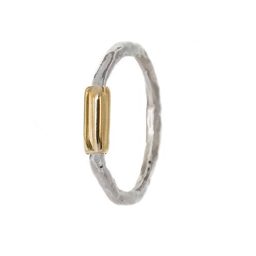 Кольцо серебро с латунью, Екатерина Толстая украшения, битое серебро, современные ювелирные украшения