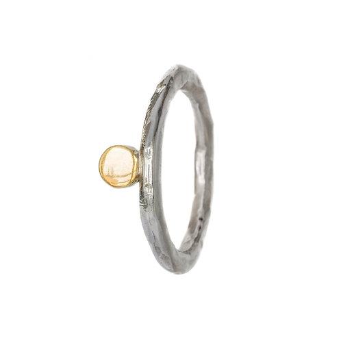 Кольцо битое серебро с монеткой, кольцо серебро с латунью Екатерина Толстая украшения, Кольцо с кругом, ювелирный шоурум