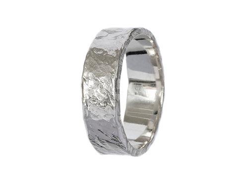 Битое широкое кольцо серебро, мятое кольцо, Екатерина Толстая украшения, Серебро ручная работа, кольцо без вставок