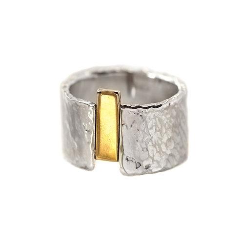 Широкое кольцо серебро, Екатерина Толстая ювелир, большое кольцо серебро, битое серебро с золотом, толстое кольцо