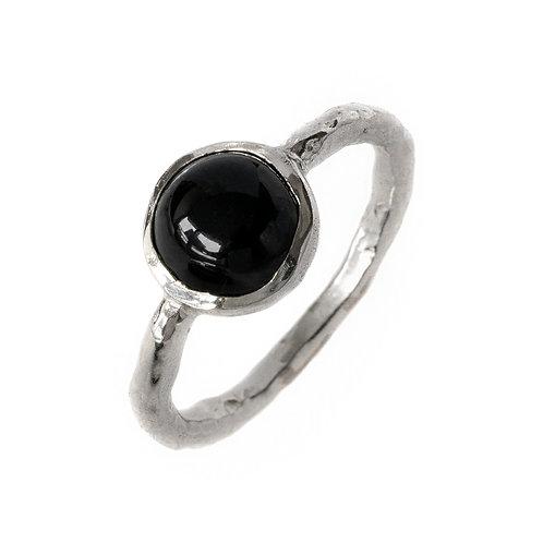 Кольцо с черным агатом, серебро