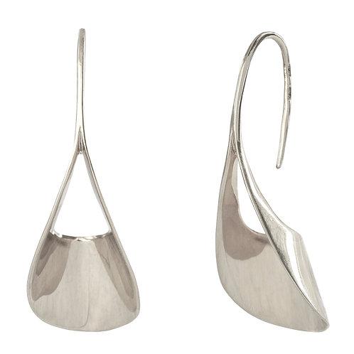 Висячие серьги серебро гладкое без всего, серьги висюльки, серьги без замка, большие серьги минимализм