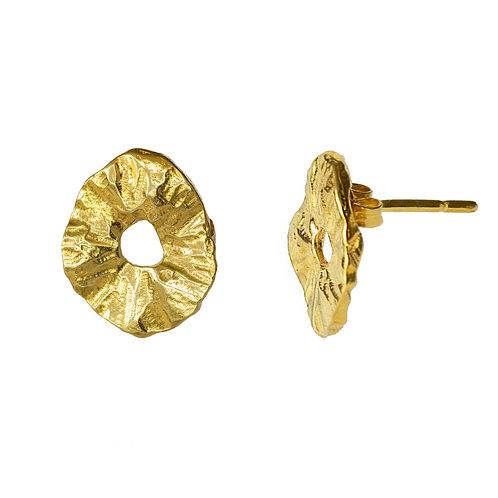 Серьги пусеты желтое золото, серебро с позолотой серьги-гвоздики купить, Екатерина Толстая, лимонное золото текстура