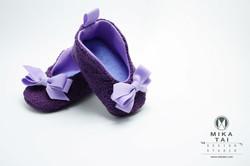 淺紫蝴蝶結嬰兒鞋