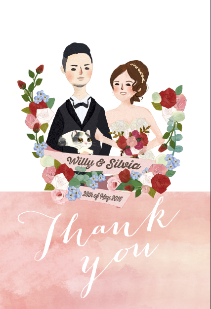 wedding illustration/ thank-you card