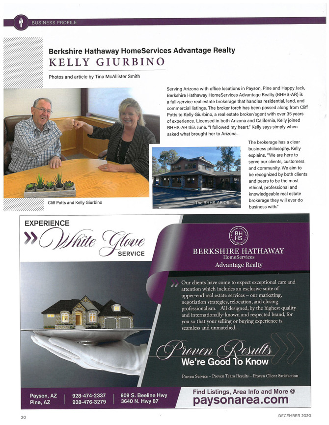 Passing of the Torch at Berkshire Hathaway Home Services Advantage Realty in Payson, AZ