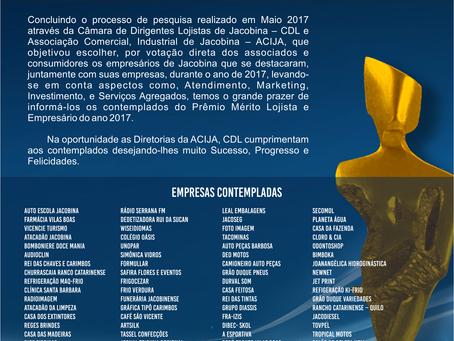 Prêmio Mérito Lojista e Empresário do Ano - 2016/2017