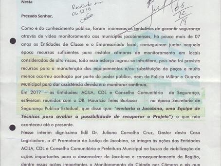 Acija solicita apoio da Câmara de Vereadores para reestruturação do Videomonitoramento de Jacobina