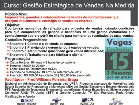 Acija Informa - Curso Gestão Estratégica de Vendas na Medida VAGAS LIMITADAS!