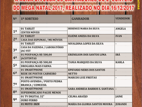 Acija Informa - Ganhadores Mega Natal 2° sorteio