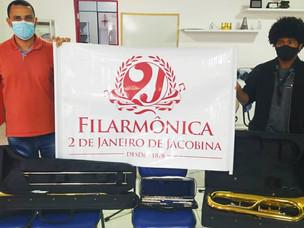 Filarmônica 02 de Janeiro recebe 03 novos Instrumentos Musicais