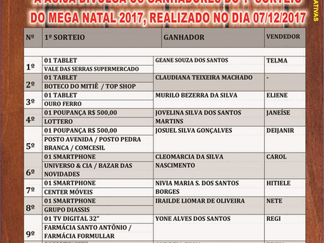 ACIJA Informa - Ganhadores 1º Sorteio Mega Natal 2017
