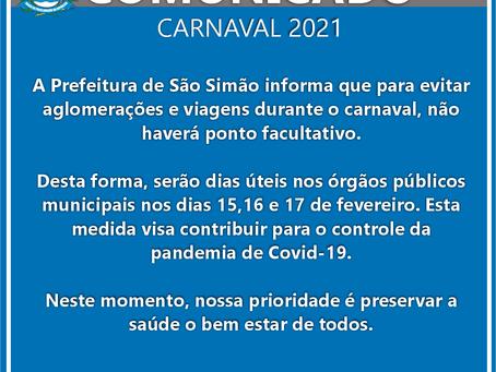Cancelamento do ponto facultativo do Carnaval do ano de 2021