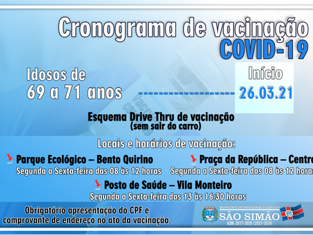 Cronograma de vacinação COVID-19 |👵Idosos de 𝟔𝟗 𝐚 𝟕𝟏 anos – a partir de 𝟐𝟔/𝟎𝟑/𝟐𝟏