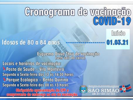 Cronograma atualizado de vacinação COVID-19