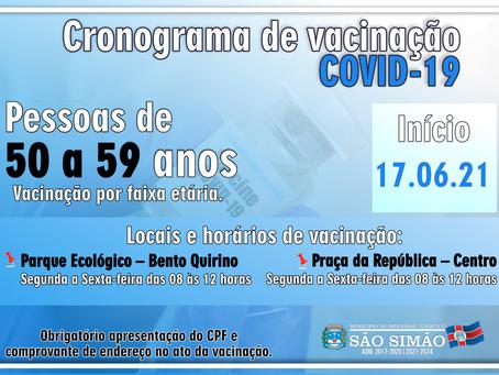 Cronograma de vacinação COVID-19 - Vacinação por faixa etária