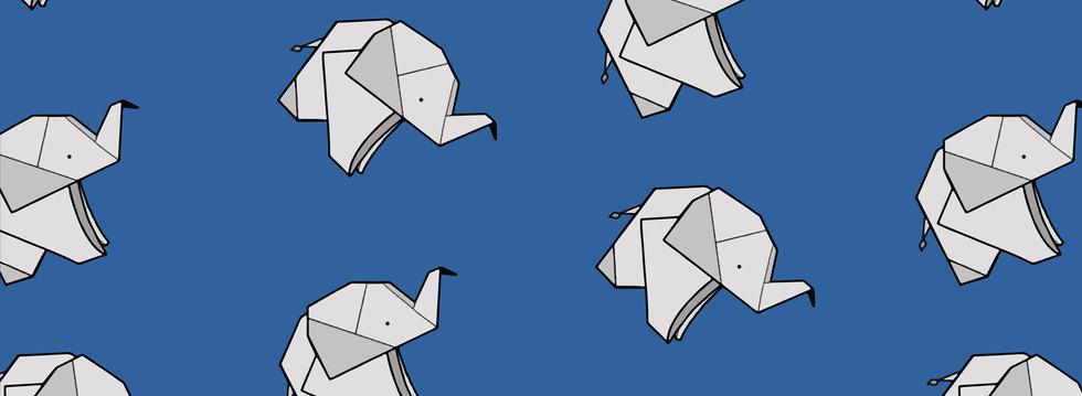 elefanti vettoriale origami