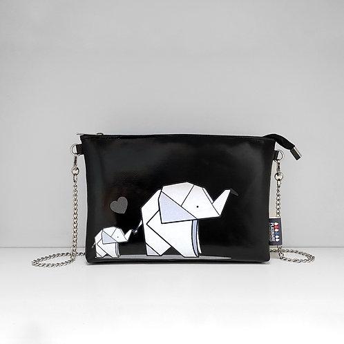 Pochette Elefanti Origami Nero