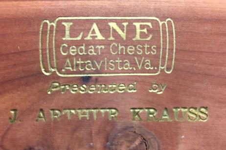 Lane Cedar Box lid logo, J. Arthur Krauss