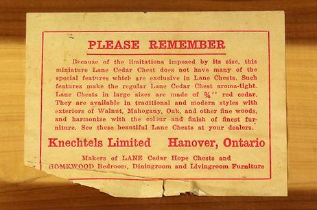 Lane box paper label - Canadian