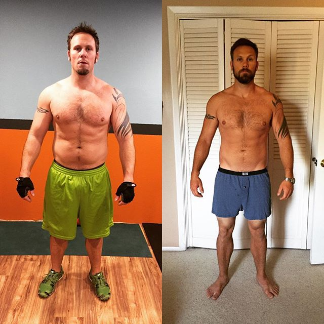 This is my husband about 1 year apart. He has lost about 30lbs from training with me and cleaning up