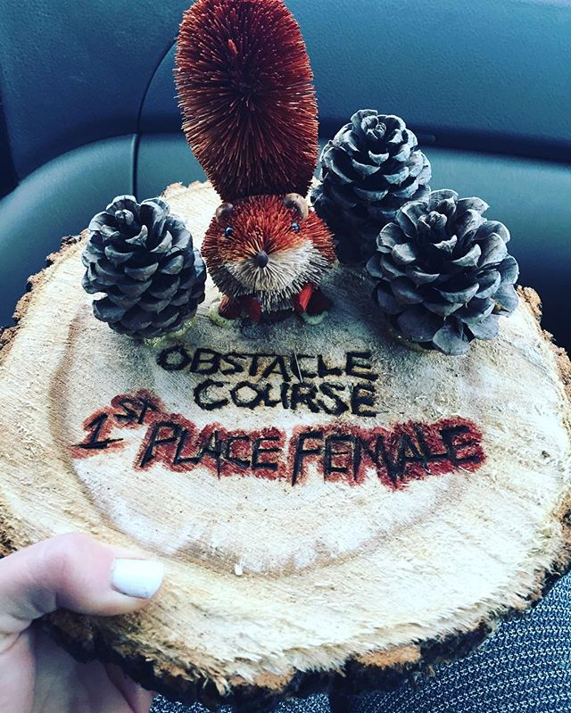 Thanks _racemontana for the obstacle course 5K and the most awesome trophy!!_#5k #getoutside #fitlif