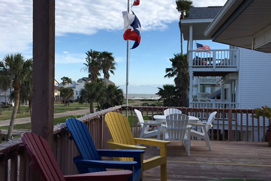 Adirondack Chairs and View of Galveston Beach