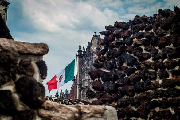 The Cathedral and the flag in Zocalo as
