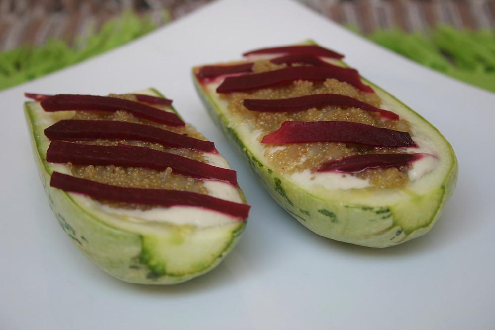 Stuffed Zucchini with Amaranth and Sunflower Seed Cream