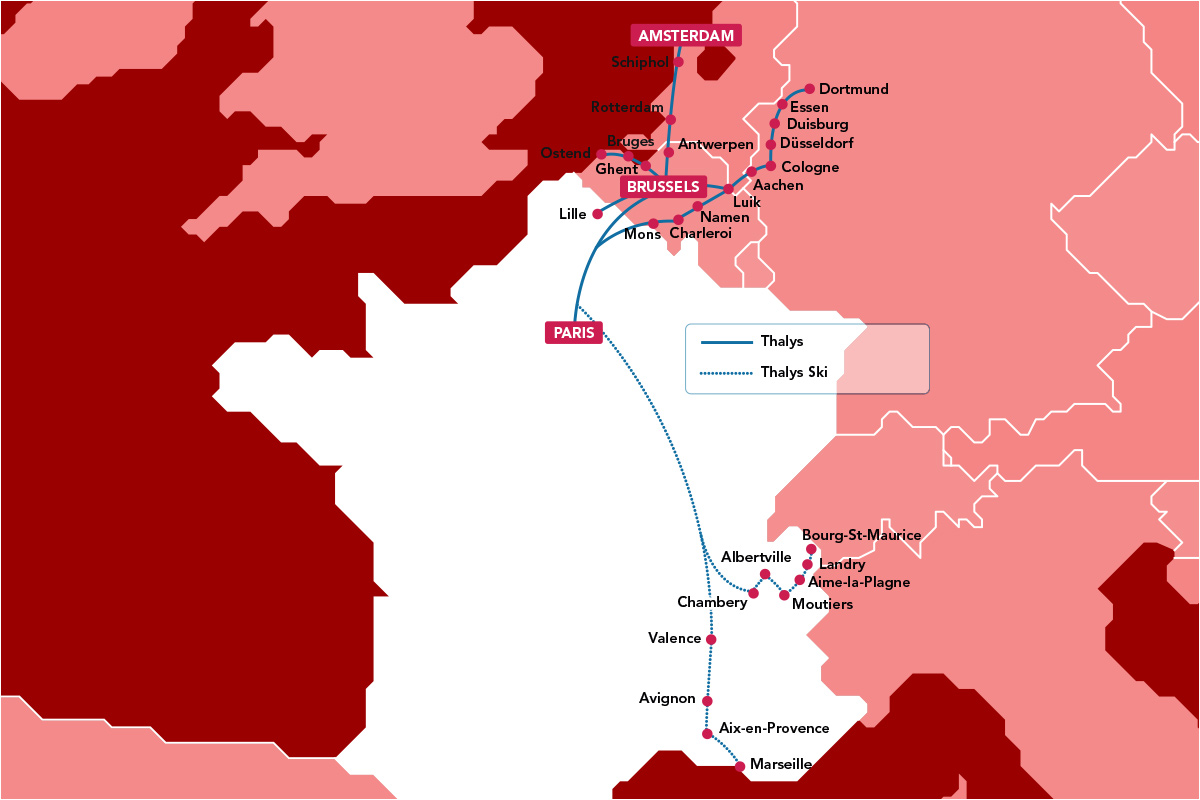 Mapa Thalys