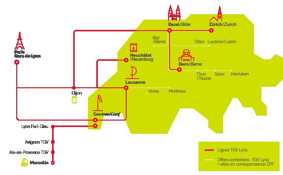 Mapa TGV Lyria