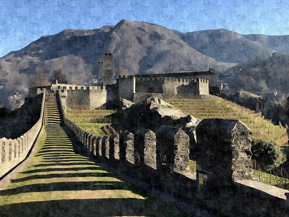 Sobre una muralla del Castelgrande