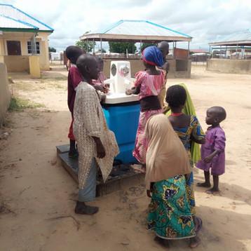 Gravit'eau handwashing station in Mafa Camp, Nigeria