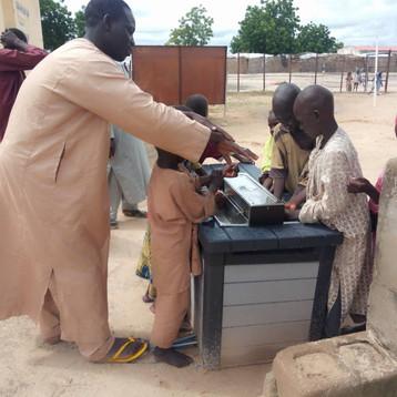Local built Gravit'eau handwashing station in Mafa Camp, Nigeria