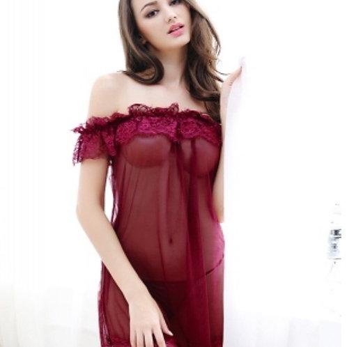 Lustrous lace mesh gauze transparent sexy pajamas
